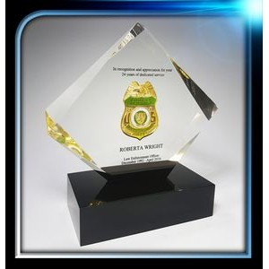 Custom Lucite Diamond Award w/Base (7 1/2